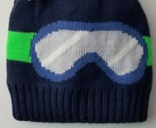 Carters 2 Piece Winter Snow Hat & Mittens Boys 0-9 Months Navy with Googles NWT