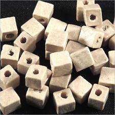 Lot de 100 Perles Cubes en Bois 6mm Blanc