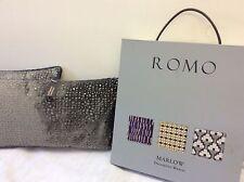 """pkt 2 flocked velvet designer romo alphi grey cushions 20 x 12"""""""