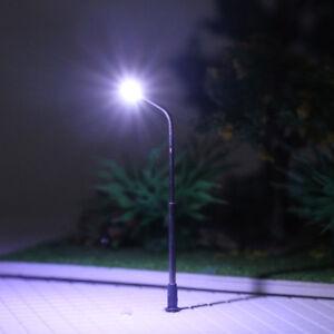 10pcs Model Trains N Scale 1:160 Lamp Post Street Lights Cool White LEDs LQS06