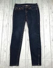 True Religion Gwen womens 26 dark wash ankle zip stretch slim skinny jeans