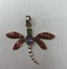 "REAL STERLING SILVER Dragonfly Multi CZ PENDANT 4.3gr & 1"" Long"