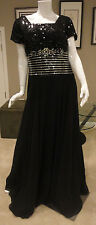 NWT Cire by Landa Long Black Sequined/Beaded Evening Gown. Size: 20.