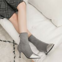 Hot Women's High Heels Stilettos Pointed Toe Suede Leather Zip Back Ankle Boots