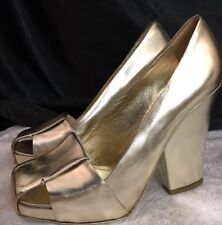 Ysl Shoe Gold Metallic Square Wide Heel Basket Toe Size 39 1/2