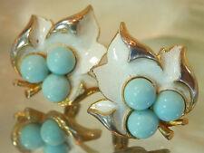 Sarah Cov Vintage 70's White Blue Enamel Thermoset Leaf Clip Earrings 354AG6