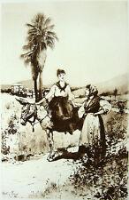 WOMAN SITS ON DONKEY FAN PALM TREE CALIFORNIA HOT DESERT ~ Old 1888 Art Print