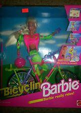 Bicyclin Barbie She pedals w/ helmet sparklin rims tassels flag mountain