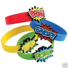 12 Superhero Rubber Bracelets Kid Party Goody Loot Bag Filler Favor Supply