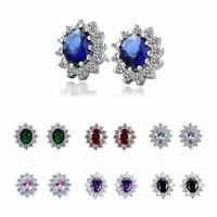 Fashion Zircon Crystal Ear White Earrings Filled Oval Women's Gold Stud Jewelry