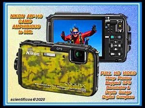 NIKON AW-110 16mp / Full HD CAMO Body Nikon Charger + Orig.Battery +Case MINT