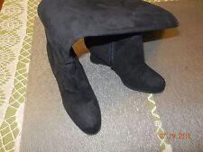 "Moda Spana - 6 Med - Black Suede-like Fabric 3"" Wedged KNEE HIGH Zipper BOOTS"
