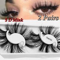 SKONHED 25MM Lashes 5D Mink Hair False Eyelashes Wispies Fluffy Handmade-