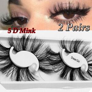 SKONHED 25MM Lashes 5D Mink Hair False Eyelashes Wispies Fluffy Handmade--