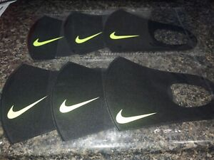 Lot of 6 Nike face mascs masc black lime green osfa kids women ma$k