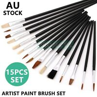 Artist Paint Brush Set 15pcs Kids Hobby Craft Watercolour Acrylic Oil Painting