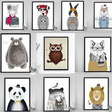 Animal Canvas Art Prints Wall Art Home Decor  Bear Dog Leopard Cartoon Poster