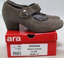"""ARA Womens ORIANA Grey Alpaca Suede 1.5"""" Mary Jane Heel US 8, UK 5.5 W"""