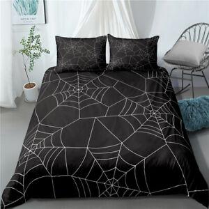 3D Spider Web Duvet Cover Queen Halloween Black Bedding Quilt Cover Pillowcase