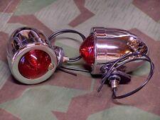 Knucklehead, Panhead, Shovelhead Dual Contact Bullet Lights. Red Lens