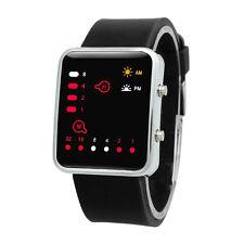 Damen Herren Digitaluhr Rote LED Silikon Sport Armbanduhr Binäre Freizeit