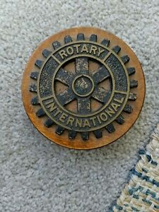 Vintage Rotary International Club Brass Colored Gear Cog Paperweight