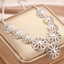 Womens 925 Sterling Silver Hollow Flower Pendant Choker Chunky Necklace #GN01