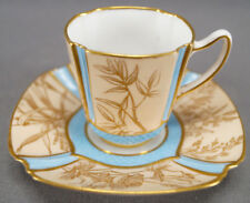 Copeland Aesthetic Gold Floral & Blue Demitasse Cup & Saucer Circa 1851 - 1885