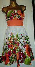 Gorgeous Size 8 very Pretty 100%  Cotton Empire Line Party Dress Orange Floral