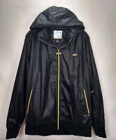 Neff Mens Black Snowboard Softshell Hooded Jacket Coat Size XL Zip Windbreaker