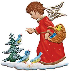 """WILHELM SCHWEIZER GERMAN ZINNFIGUREN Angel Feeding Birds (2.5"""" High)"""