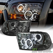Smoke 2009-2018 Dodge Ram CCFL Halo Projector Headlights w/LED DRL Running Lamps