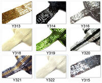 "8 colours- 2""(5cm) wide / 6 Rows Shiny round Sequin Stretch Elastic Trim Yardage"