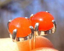 NEW Sterling Silver EARRINGS 6mm Round 1ct each Bright Fanta Orange CARNELIAN