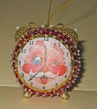 """It's Santa Time"" Kit makes 2  Alarm Clock Christmas Ornaments Sequins Beads NEW"