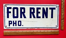 Vintage 1950's 60's For Rent Sign Early Embossed Metal Sign Nice Wall Display
