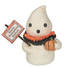 "4.5"" Bethany Lowe Boos Pumpkin Patch Ghost Halloween Figurine Retro Vntg Decor"