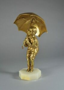 DH. CHIPARUS. CHILD WITH UMBRELLA GILDED BRONZE FIGURE 1925. ART DECO