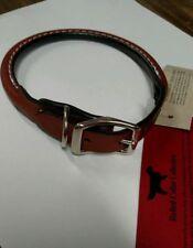 "Auburn Leather Rolled Round Dog Collar - Brown 8""-10"""