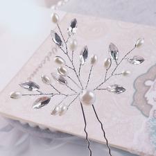 Wedding Party Bridal Retro Rhinestone Leaf Faux Pearl Hair Clip Pin Accessories