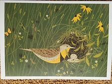 Charley Charles Harper Eastern Meadowlark  bird nest eggs Art print  new meadow