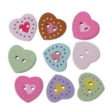 100 Mixed Wood Sewing Buttons Painted Heart 2 Holes 17x16mm