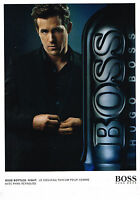 PUBLICITE ADVERTISING 124  2010  HUGO BOSS   parfum homme RYAN REYNOLDS  NIGHT