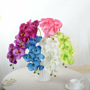 7 Heads DIY Artificial Fake Silk Flower Phalaenopsis Butterfly Orchid Home Decor