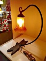 VTG Repro Art Nouveau Arts & Craft Dragonfly Lamp Post-1940 with Art Glass Shade