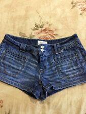 Aeropostale Low Rise Jean Shorts Medium Vintage Wash Size 3/4 Stretch Denim