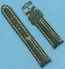 STEEL ROLEX BUCKLE & 20mm BLACK GENUINE LIZARD MB STRAP BAND LEATHER LINED  TANG