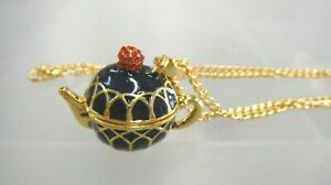 Teapot Golden Enamel Necklace 28 inch Chain Gift Boxed
