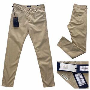 ARMANI JEANS Mai Skinny Fit Beige Lightweight Denim Trousers Size 26 NEW RRP£170