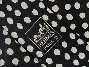 "HERMÈS MEN'S TIE BLACK, IVORY/POLKA DOT  W: 3.75"" L: 60""  5157 HA"